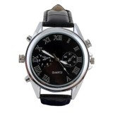 WTCH11 Montre Caméra Espion classique 720x480 bracelet cuir noir cadran noir argent vidéo photo audio USB HDS-WTCH11 quartz