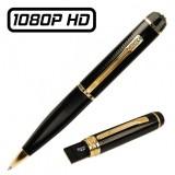 Stylo Caméra Espion USB Full HD 1080P Vidéo Photo Détection de Mouvements Micro SD 32 Go Max 1920x1080 HDS-PENCAM12 Noir Doré