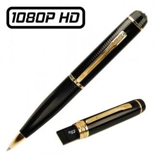 PENCAM12 Stylo Caméra Espion USB Full HD 1080P Micro SD jusqu'à 32 Go Max Vidéo Photo Dictaphone 1920x1080 Noir et Doré