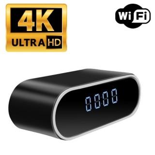 RVLIP9 Réveil Caméra Espion IP WIFI UHD 4K 2160P Micro SD jusqu'à 256 Go Vision nocturne Détection Cloud P2P 4096x2160