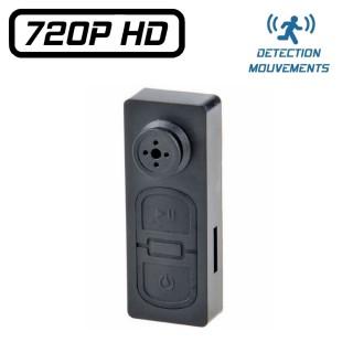 BTN2HD Bouton Caméra Espion HD 720P Micro SD jusqu'à 64 Go Vidéo Détection de Mouvements Photo Audio Powerbank
