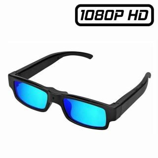 SUNG9 Lunettes de Soleil Caméra Espion Full HD 1080P Micro SD jusqu'à 32 Go Vidéo Photo Design rectangle verres bleus
