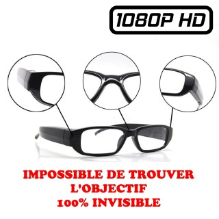 VUECAM5 Lunettes de Vue Caméra Espion Objectif Invisible Full HD 1080P Micro SD jusqu'à 32 Go Vidéo Photo 1920x1080