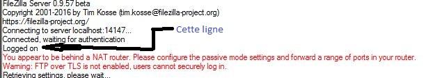 ftp filezilla logged on